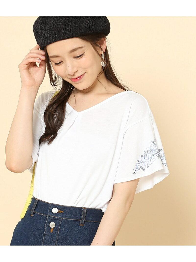 【SALE/50%OFF】ROPE' PICNIC フレア袖刺繍Tシャツ ロペピクニック カットソー【RBA_S】【RBA_E】