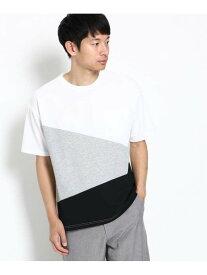 【SALE/40%OFF】THE SHOP TK カノコ切替ビッグTシャツ ザ ショップ ティーケー カットソー Tシャツ ホワイト グレー ネイビー