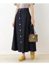 インディゴデニムボタンスカート