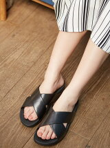 (W)LULU CROSS SLIDE SANDALS-LEATHER