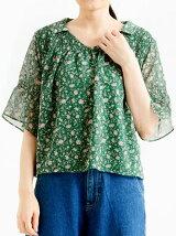 ☆小花柄シャーリング衿付ブラウス