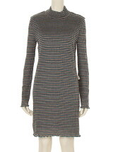 Scala Stripe High-Neck Dress