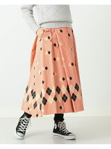 STYLE EYES × BEAMS BOY / コーデュロイ プリント フレア スカート ビームスボーイ