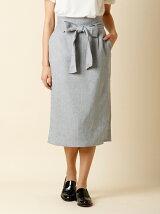 【秋の新作】リボンベルト付きIラインスカート