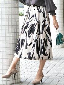 Viaggio Blu 【WEB別注】スティックプリントフレアスカート ビアッジョブルー スカート ロングスカート ベージュ ピンク【送料無料】