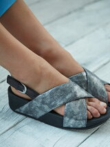 (W)LULU CROSS BACK-STRAP SANDALS-SHIMMER-PRINT