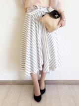 イレギュラーヘムストライプスカート