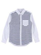 Men's ボーダープリントオックス ボタンダウンシャツ