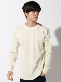 GLOBAL WORK (M)サーモワッフルクルーT グローバルワーク カットソー Tシャツ ホワイト ピンク グリーン グレー ブラック
