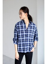 コットン長袖T/Bスキッパーシャツ