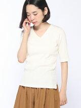 mitis/三角リブVネックカットソー(5分袖)/mitis/