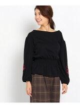 袖刺繍ウエストシャーリングプルオーバー