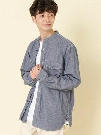 【SALE/46%OFF】coen カラーネップバンドカラーシャツ コーエン シャツ/ブラウス 長袖シャツ ネイビー ホワイト