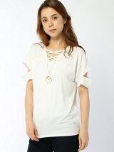 ネックレス付WクロスカットスリープTシャツ