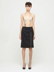 DRESSEDUNDRESSED Slit Shoelace Pencil Skirt シーナウトウキョウ スカート 台形スカート/コクーンスカート ブラック グレー【送料無料】