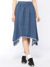 裾フリンジデニムスカート