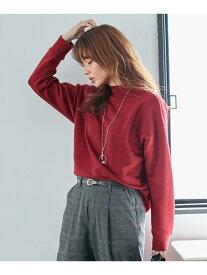 any FAM 【洗える】裏毛ハイネックトップス エニィファム カットソー Tシャツ レッド ブラック ブラウン ベージュ