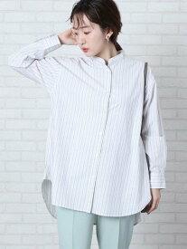 【SALE/55%OFF】coen ブロードバンドカラーロングシャツ(バンドカラーシャツ)# コーエン シャツ/ブラウス 長袖シャツ ブルー ホワイト グレー ベージュ