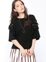 ネックレス付袖フレアリボンTシャツ