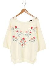 w closet W 花刺繍入りガーター編み7分袖プルオーバー