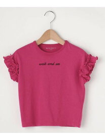 【SALE/50%OFF】THE SHOP TK(Kids) 【100cm~140cm】ガールズ袖口フリルロゴTシャツ ザ ショップ ティーケー カットソー【RBA_S】【RBA_E】