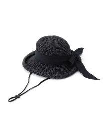 【SALE/50%OFF】SHOO・LA・RUE ボリュームリボン編み込みハット シューラルー 帽子/ヘア小物 ハット ブラック ブラウン