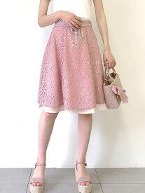 【SALE/49%OFF】MISCH MASCH 配色レーススカート ミッシュ マッシュ スカート フレアスカート ピンク ホワイト ブラック【送料無料】