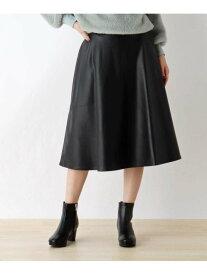 【SALE/47%OFF】SHOO・LA・RUE 【M-L】エコレザーフレアスカート シューラルー スカート スカートその他 ブラック ブラウン レッド