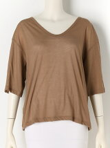 COTTON SILK V-neck Top