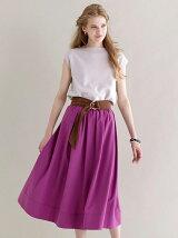 ベルト付きタックギャザースカート