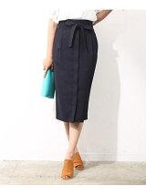 【Oggi6月号掲載】[セットアップ対応]リネン風フロント開きタイトスカート