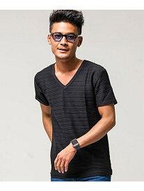 VICCI VICCIタックジャガードVネック半袖Tシャツ シルバーバレット カットソー Tシャツ ブラック グレー ホワイト