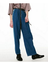DENIM SIDE LINE PANTS CHEMICAL-WASH