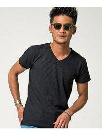 VICCI VICCIテレコ半袖VネックTシャツ シルバーバレット カットソー Tシャツ ブラック カーキ ホワイト