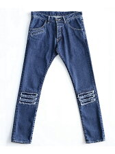 DENIM DAMEGE PANTS  CHEMICAL-WASH