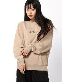 X-girl PATCHED CREW SWEAT TOP エックスガール カットソー スウェット ベージュ ブラック ブルー ピンク イエロー【送料無料】