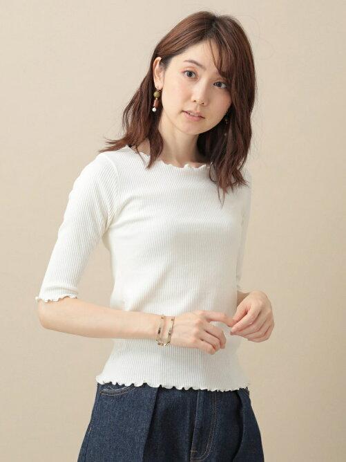 sugar spoon トタンテレコ衿フリル7分袖Tシャツ