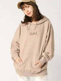 X-girl PATCHED SWEAT HOODIE エックスガール カットソー パーカー ベージュ ブラック ブルー ピンク イエロー【送料無料】
