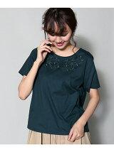 刺繍クルーネックTシャツ