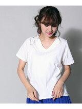 刺繍VネックTシャツ