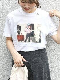 SHIPS WOMEN RobertaBayleyプリントTee シップス カットソー Tシャツ ホワイト ブラック【送料無料】