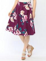 グログラン花柄プリント60丈スカート