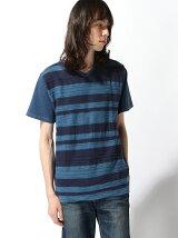 (M)ZIP FIVE ネイティブボーダーインディゴTシャツ