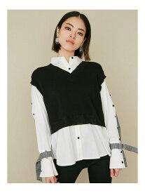 EMODA ドッキングニットベストシャツ エモダ シャツ/ブラウス 長袖シャツ ブラック ベージュ【送料無料】