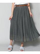 ベルト付きロングスカート