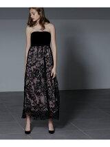 フラワー刺繍ロングドレス