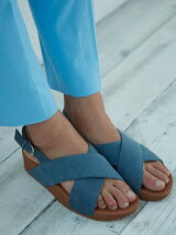 (W)LULU CROSS BACK-STRAP SANDALS-SHIMMER-DENIM