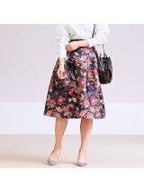 カラーフラワージャガードスカート