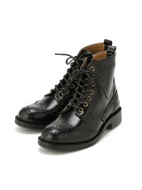 (L)ウイングチップレースアップブーツ ブラック