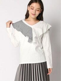 Edge line フリルトップス エッジライン カットソー Tシャツ ホワイト ブラック